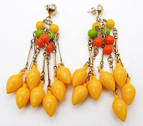 Earrings - Yellow Bead Drop Chandelier Earrings