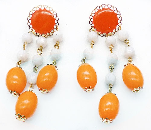 Earrings - Tangerine and Orange Bead Drop Earrings