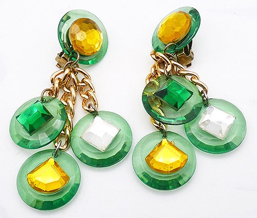 Newly Added Green Gold Clear Dangle Earrings