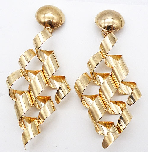 Newly Added Gold Tone Ribbon Curl Earrings