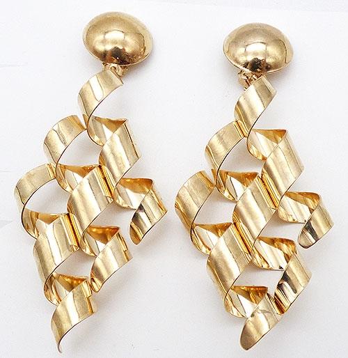 Earrings - Gold Tone Ribbon Curl Earrings