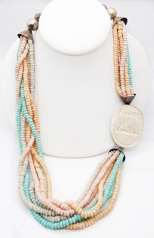 Ethnic & Boho - Carved Bone Elephant Dyed Beads Necklace