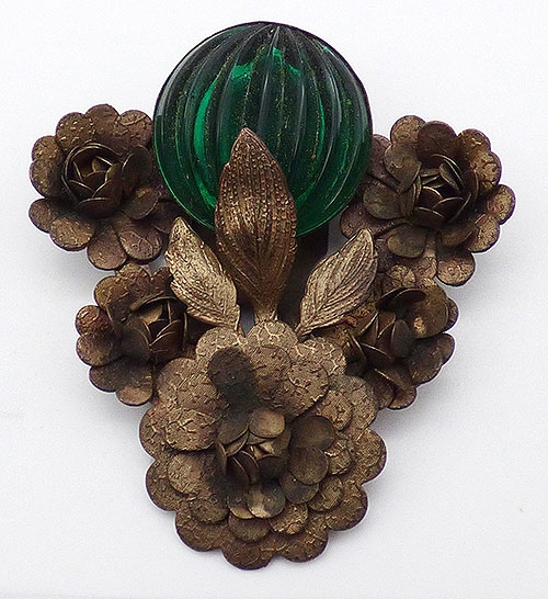 Dress & Fur Clips - Green Melon Glass Brass Flowers Dress Clip