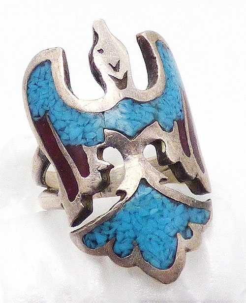 Rings - Navajo Sterling Inlaid Turquoise Thunderbird Ring