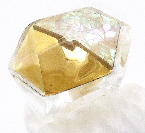 Rings - Monies Style Gold Foil Lucite Ring
