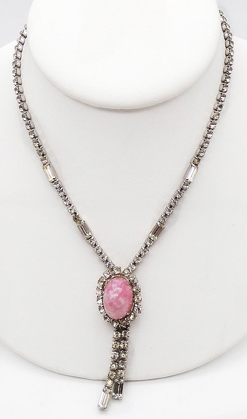 Bridal, Wedding, Special Occasion - Pink Glass Cabochon Rhinestone Necklace