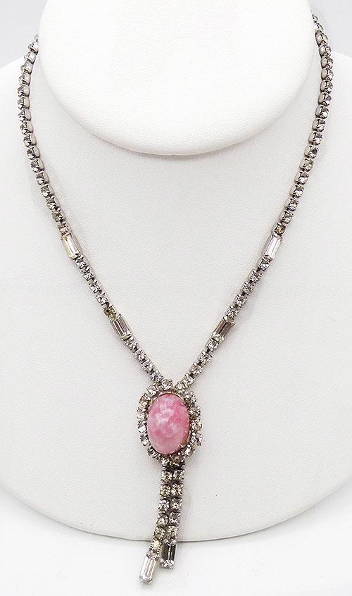 Newly Added Pink Glass Cabochon Rhinestone Necklace