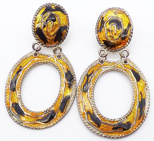 Newly Added Gold and Black Enamel Hoop Earrings