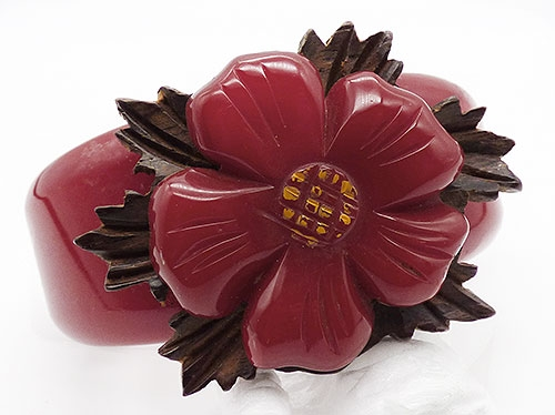 Newly Added Red Bakelite Flower Clamper Bracelet