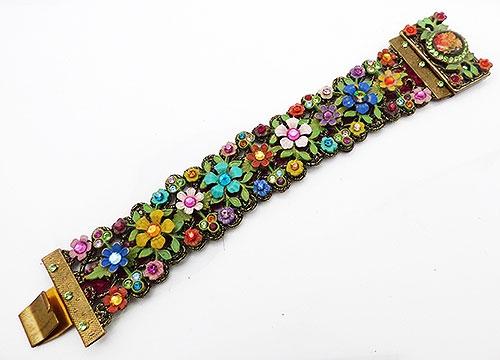 Bracelets - Enameled Flower Garden  Bracelet