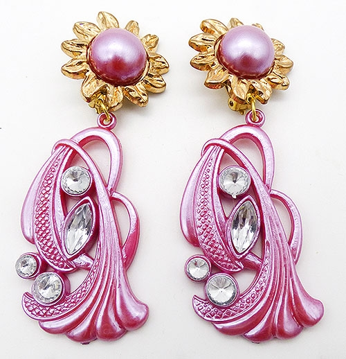 Newly Added Giant Pink Acrylic Statelemt Earrings