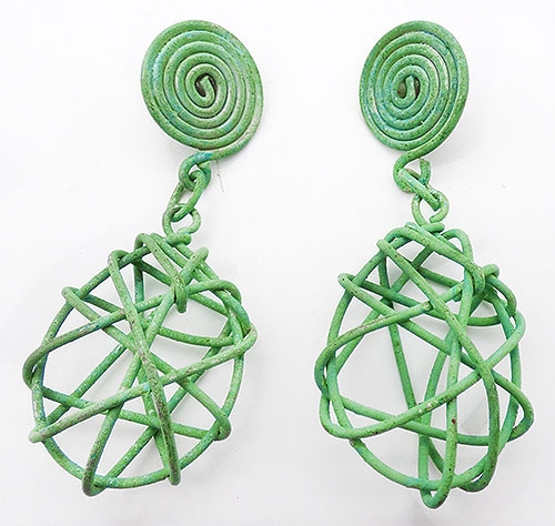 Newly Added Green Wire Cage Statement Earrings