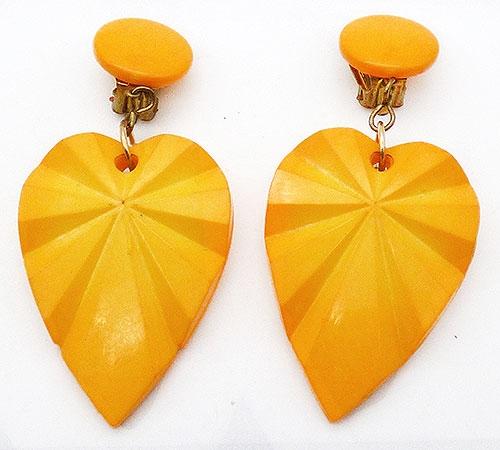 Earrings - W. German Yellow Leaves Dangle Earrings