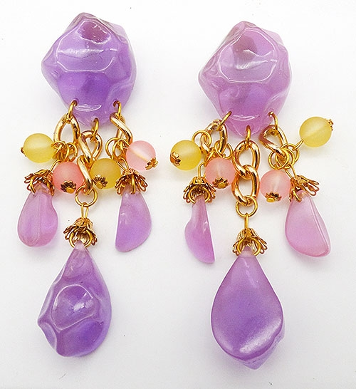 Newly Added Chunky Lavender Rock Statement Earrings