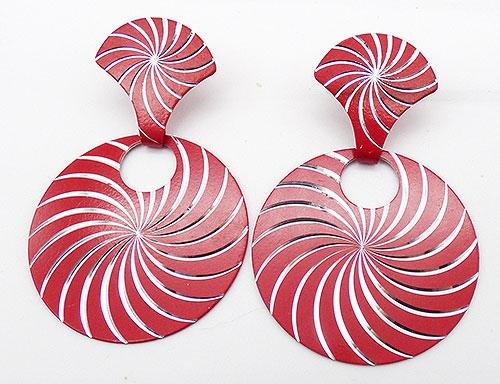 Newly Added Red Cut Silver Spiral Hoop Earrings