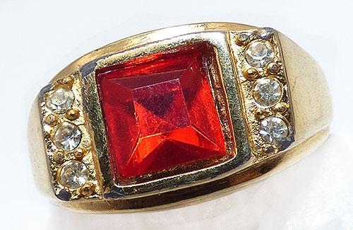 Newly Added Gold Tone Red Rhinestone Men's Ring
