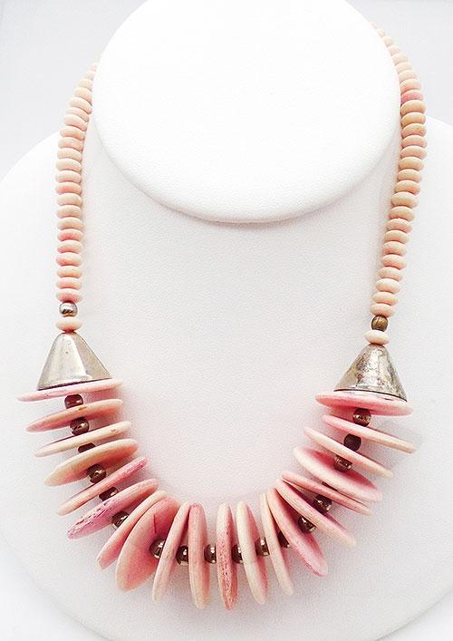 Ethnic & Boho - Boho Dyed Pink Coconut Bead Necklace