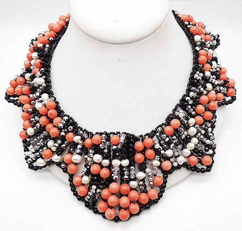 Collectible Contemporary - Vilaiwan Coral Black and Pearl Necklace