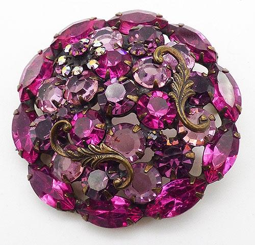 Brooches - Fuchsia Pink Amethyst Rhinestone Brooch