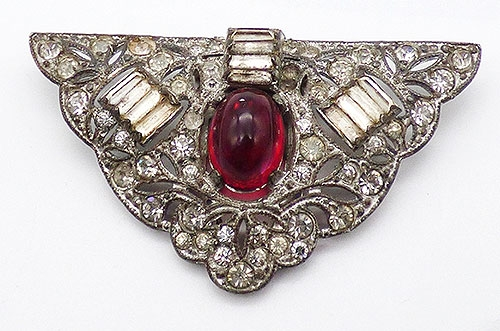 Dress & Fur Clips - Art Deco Red Cabochon Rhinestone Dress Clip