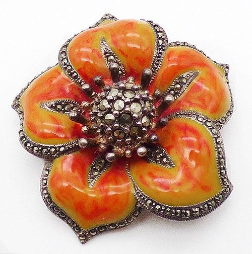 Sterling Silver - Enameled Sterling Marcasite Flower Brooch