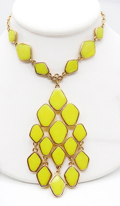 Pantone Colors of the Year 2021 - Yellow Flat Glass Stone Necklace