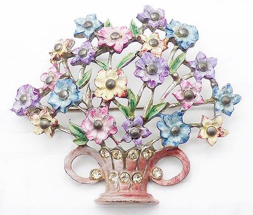 Newly Added Pastel Enamel Pot Metal Flower Basket Brooch