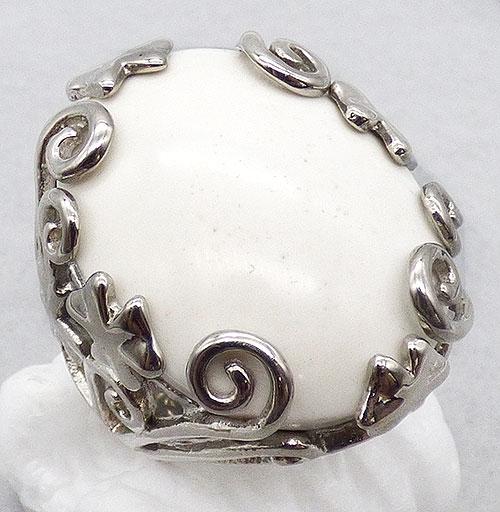 Rings - White Milk Glass Statement Ring