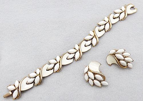 Newly Added Trifari White Rhinestone and Enamel Bracelet Set