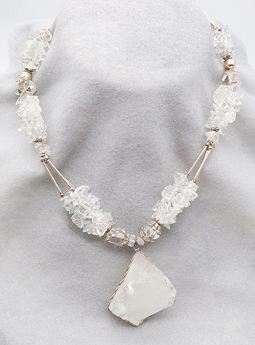 Newly Added Chunky Quartz Rock and Beads Necklaace