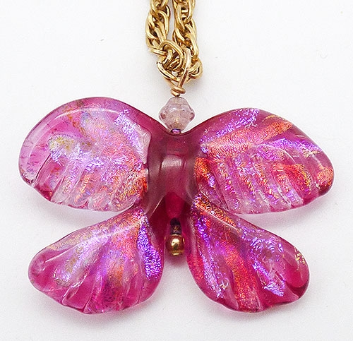 Newly Added Pink Dichroic Glass Butterfly Pendant