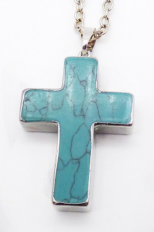 Crosses - Dyed Turquoise Howlite Cross Pendant