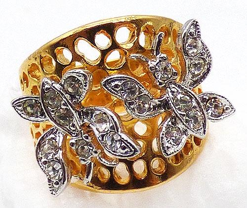 Figural Jewelry - Butterflies & Bugs - Rhinestone Butterflies 18K Gold Plated Ring
