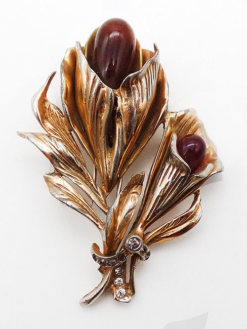 Dress & Fur Clips - Carnelian Glass Drop Floral Fur Clip