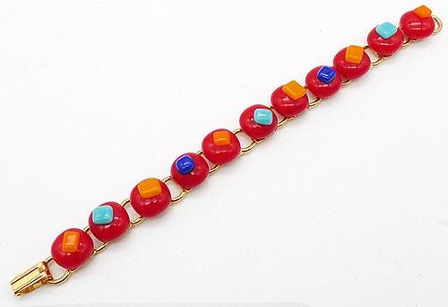 Bracelets - Red Art Glass Link Bracelet