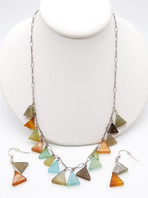 Sets & Parures - Salli K Designs Glass Triangles Necklace Set
