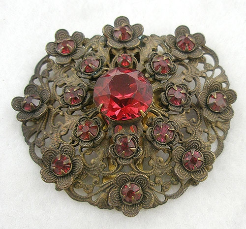 Dress & Fur Clips - Czech Brass Floret Dress Clip