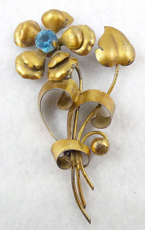 Florals - Retro Sterling Vermeil Flower Brooch