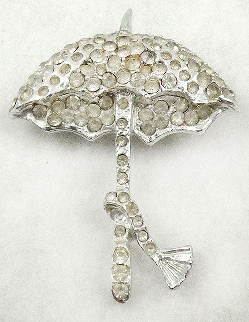 Figural Jewelry - Objects & Things - Rhinestone Umbrella Brooch