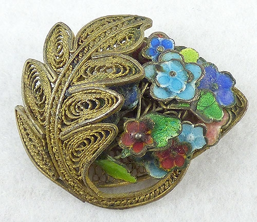 China - Chinese Filigree Enameled Flowers Brooch
