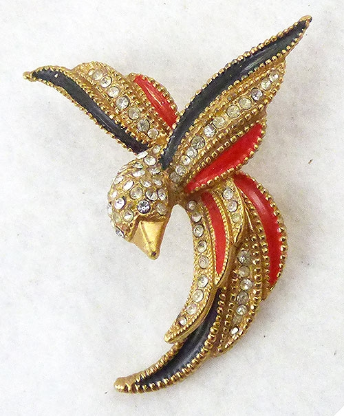 Figural Jewelry - Birds & Fish - Enameled Rhinestone Bird Brooch