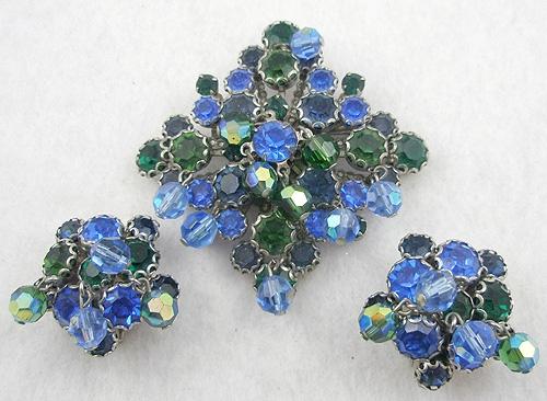 Sets & Parures - Kramer Blue and Green Rhinestone Brooch Set
