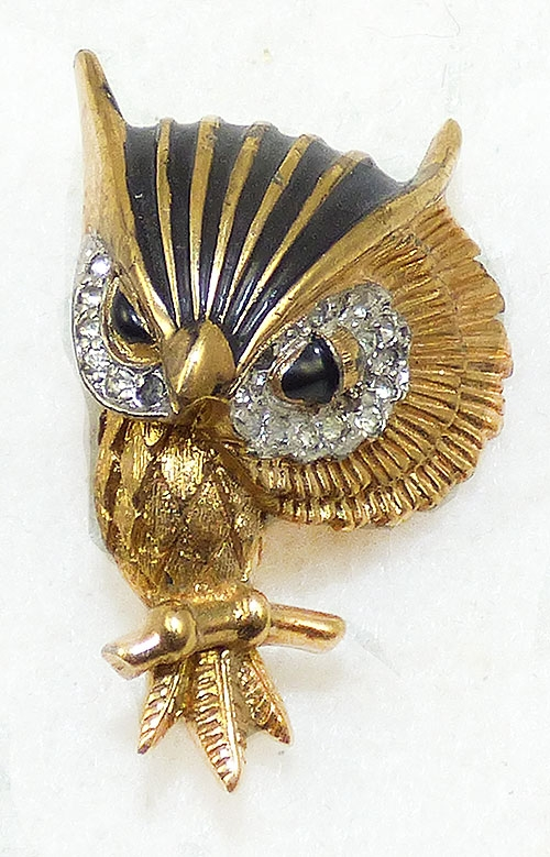 Newly Added Jomaz Black Enamel Owl Brooch