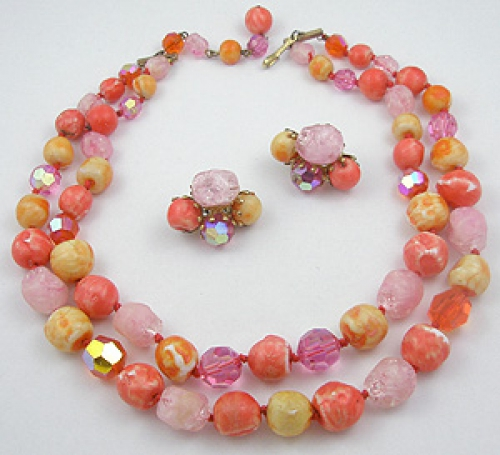 Summer Hot Colors Jewelry - Vogue Orange Bead Double Strand Necklace Set