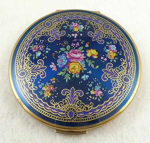 Compacts & Vanity Items - Stratton Blue Floral Compact