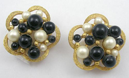 Kramer - Kramer Faux Pearl & Black Bead Earrings