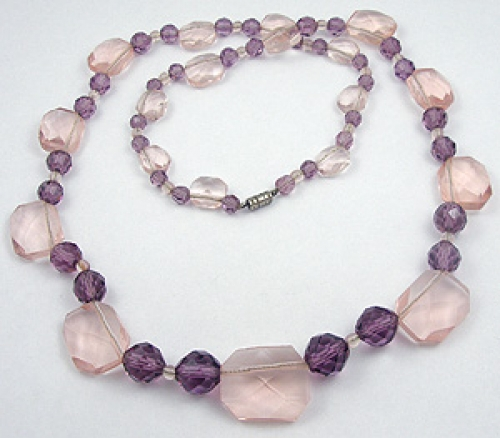 Crystal Bead Jewelry - Vintage Pink & Purple Crystal Necklace