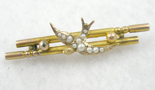 England - Victorian 9 Karat Gold and Pearl Dove Bar Pin