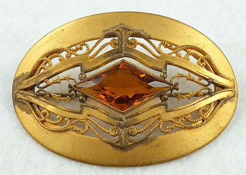 Brooches - Victorian Amber Glass Gilded Sash Pin