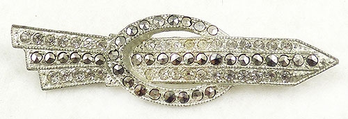 Art Deco - Rhinestone Marcasite Arrow Brooch